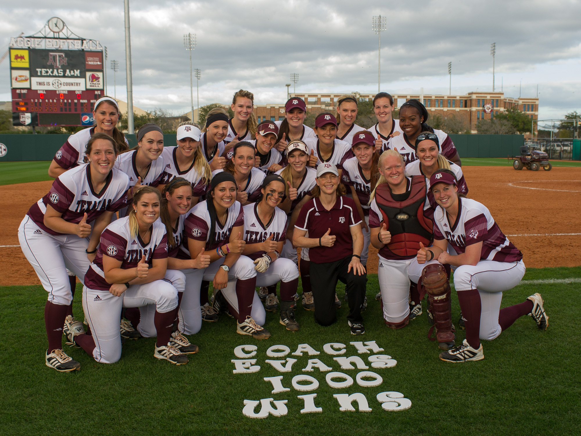 Coach Jo Evans 1000 wins Texas A&M Softball