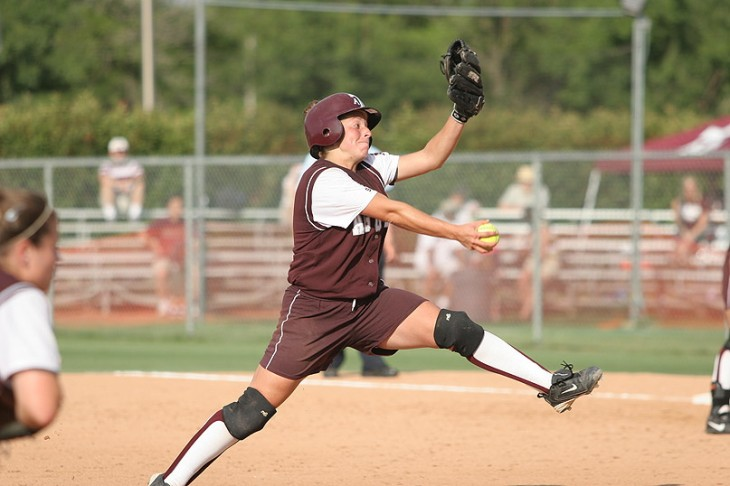 Amanda Scarborough Pitch with Helmet on